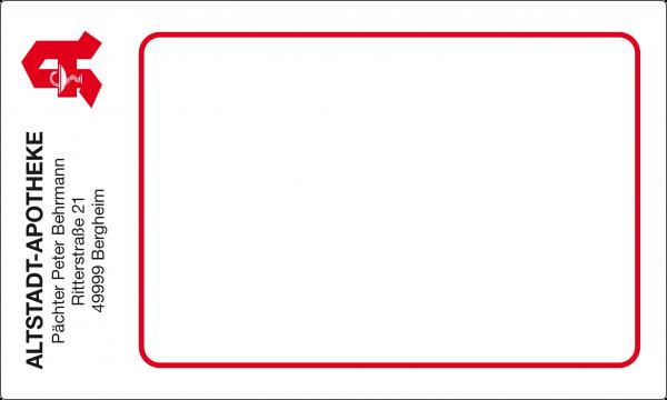 Post-Etikett mit rotem Apotheken A