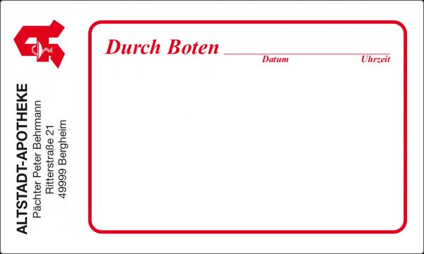 """Post-Etikett """"Durch Boten"""""""