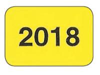 Jahreszahlen - Etiketten 2018 gelb