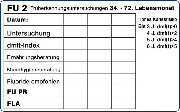 FU 2 Früherkennungsuntersuchungen 34.-72. Lebensmonat
