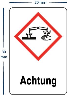 "Gefahrensymbol ""Achtung Ätzend"" Aufkleber 20 x 30 mm"