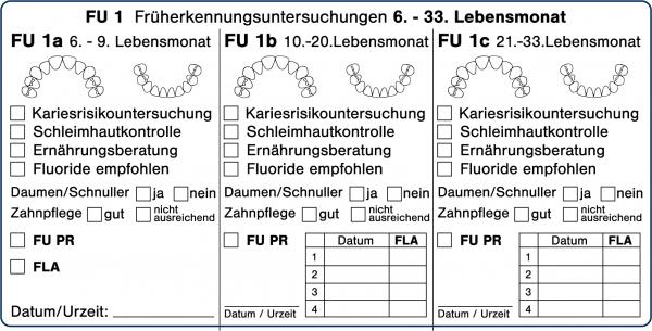 FU 1a 1b 1c Früherkennungsuntersuchungen 6.-33. Lebensmonat