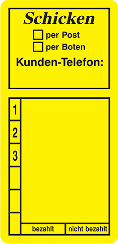 Schicken / per Post / per Boten