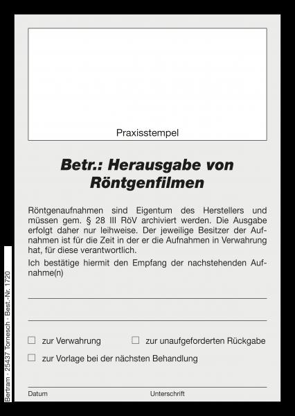 """BETR.:HERAUSGABE VON RÖNTGENFILMEN"""""""" - Block"""