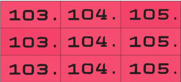 Dreifachnummern fortlaufend 3-fach nummeriert 0-999